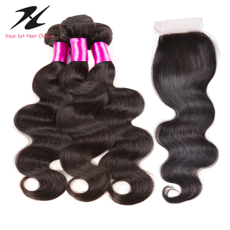 Top 8a Grade Virgin Unprocessed Human Hair Extensions Mink Brazilian Hair Body Wave 3 Bundles With Silk Closure Bleached Knots