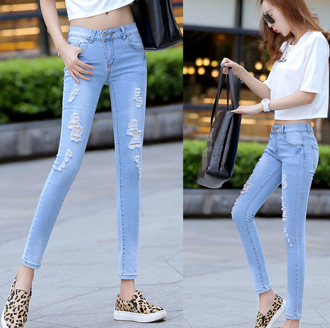 W30658H fashion pencil jeans pants women ripple jeans feet pants 2015