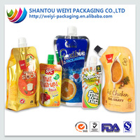stand up reusable food spout pouch bag/ziplock reusable drink pouch with spout packaging/liquid stand up pouch with spout