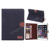 for iPad mini 1 2 3 case leather, for ipad mini 1 2 3 wallet leather case Retro Plain pattern
