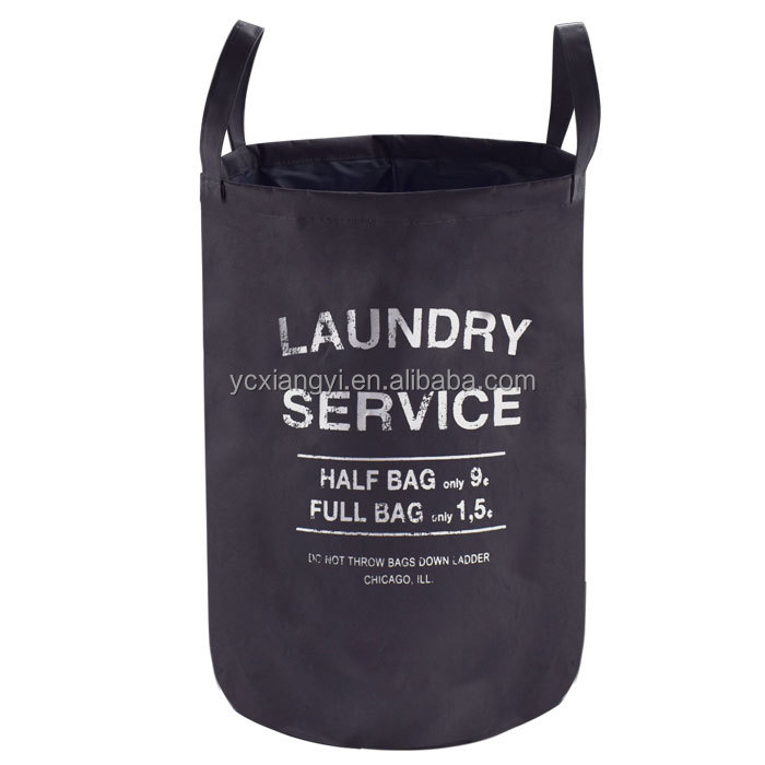 Hot sale polyester linen round fabric storage dirty clothes laundry hamper customized folding laundry basket with handle