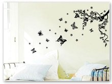 Large Black butterfly and Tree Wall Decal Stickers for Living Room