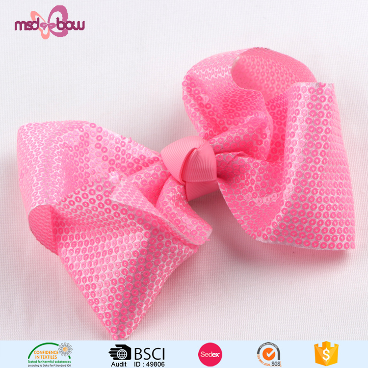 Low price wholesale large sequined hair bows for girls boutique
