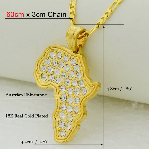 8 style /Africa map pendant necklace women girl silver/18k gold plated jewelry men,45/60cm african map hiphop item wholesale 22k