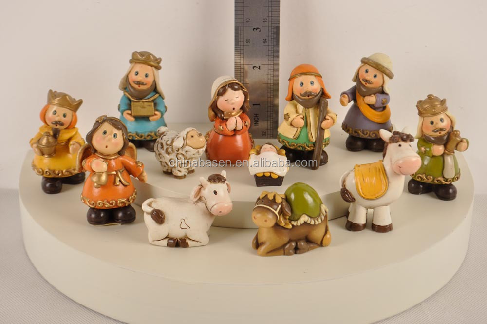 2.5'' resin new color christmas nativity sets DIY