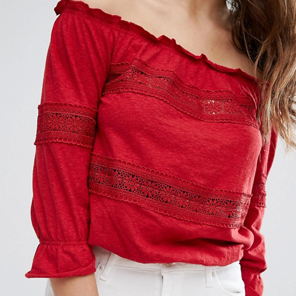 New fashion girls tops bardot crochet off shoulder top for women