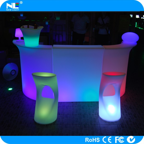 Elegant and nice clear LED plastic light bar counter furniture