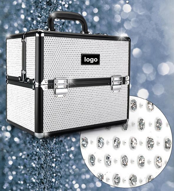 2015 Hotsale Expandable White Crystal Metal Aluminum Makeup Case