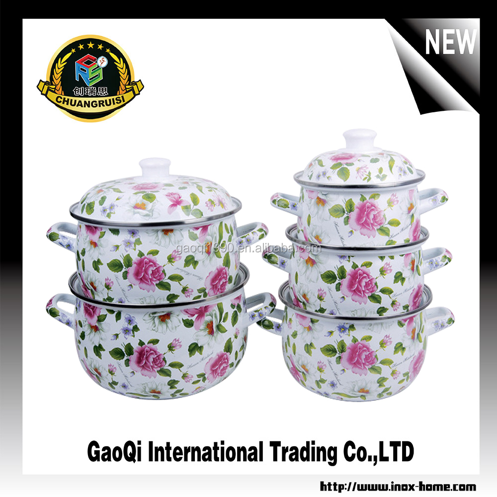 High Quality Enamel Cast Iron Cookware/casserole with flower