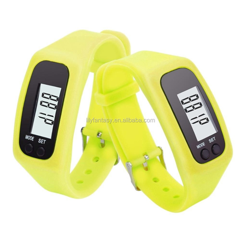 MOQ 100PCS Rubber Silicone Fitness Bracelet Wristband for Running Walking Distance Step Fitness Tracker Pedometer