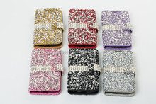 For LG K10 Luxury Bling Diamond Jewelled Crystal Leather Flip Wallet Phone Cards Case Cover