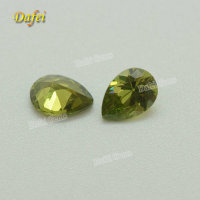 Hot Sale 7x5 mm Pear Cut Synthetic Olive Cubic Zirconia Stone