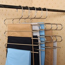 Inspring Pants Hangers S-type Stainless Steel Trousers Rack 5 layers Multi-Purpose Closet Hangers Magic Space Saver Storage Rack