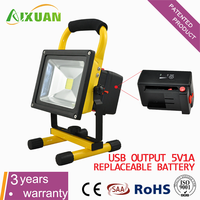 10W 20W rechargeable led flood light/Portable LED Battery Work Light with CE RoHS SAA