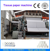 2640mm waste paper, high grade deinking, hardwood pulp high speed toilet tissue paper jumboo roll making machinery, 7-8 T/D