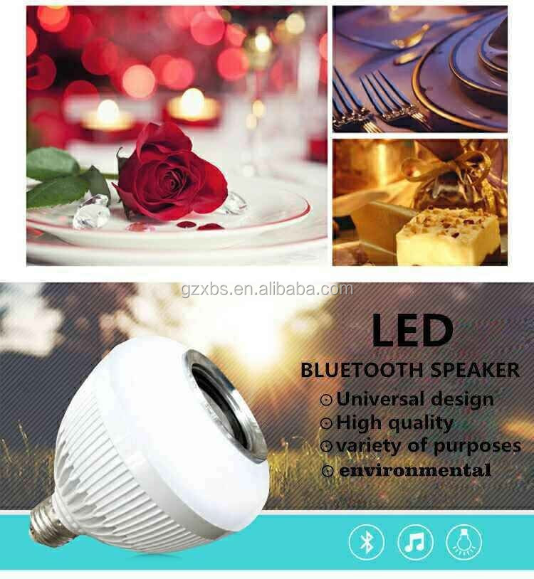 Wireless Bluetooth E27 LED Light Bulb Speaker, Dimmable Color Changing Remote Control Recessed Ceiling Light