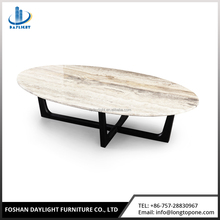Living room furniture natural marble top polygon and solid wood coffee table