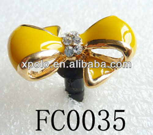 Fashion Drop Of Oil Bowknot Cabinet Dust Cap Plug For Cell Phone Ear Jack