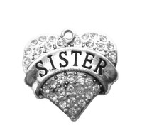 White crystal sister pendant charms jewelry (H107995)