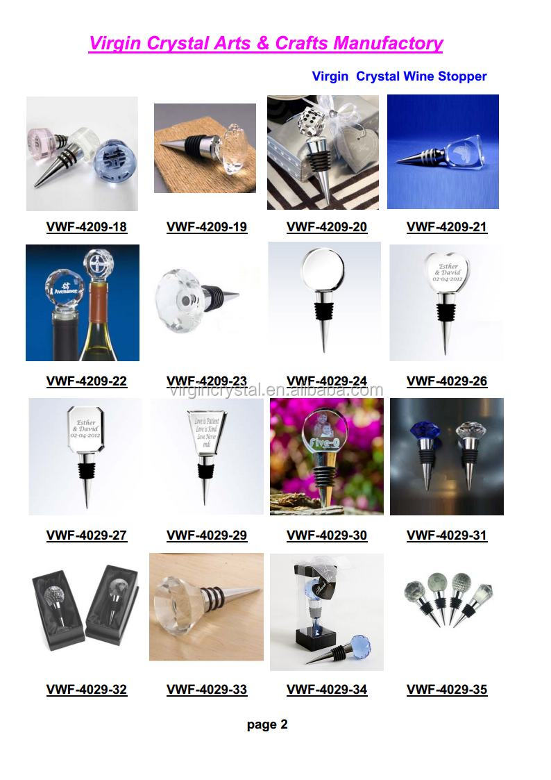 Wholesale 3d laser engraved crystal round shape wine stopper for wedding return gift