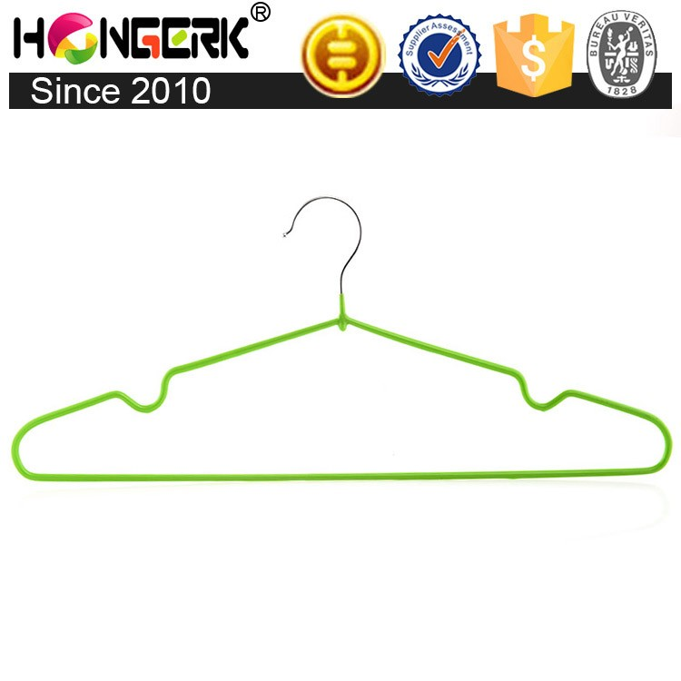 Wholesale popular PVC coated metal wire coat cloth hanger for drying clothes