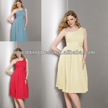 HB2014 One shoulder ruffled chifon wih flower sash bridesmaid gowns
