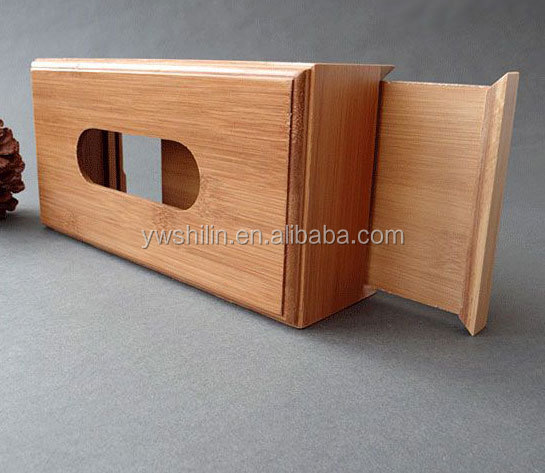 Hot sales cheap bamboo tissue box holder with sliding lid