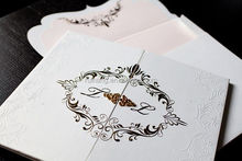 luxury white high quality hard cover embossed wedding invitations card gatefold