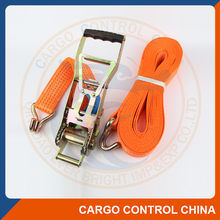 EB2006 EN12195-2 standard Polyester cargo ratchet tie down with double J hook lashing straps