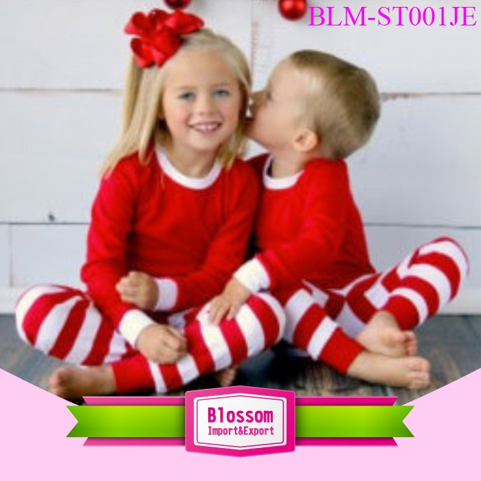 Wholesale boys and girls red stripe pajamas blanks children kids pyjamas Christmas pajamas