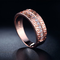 18KR6 Pure Real 18K Rose gold Double plated rings for women AAA CZ Diamond wedding Bands bijou gem jewel jewelry Gold Rings