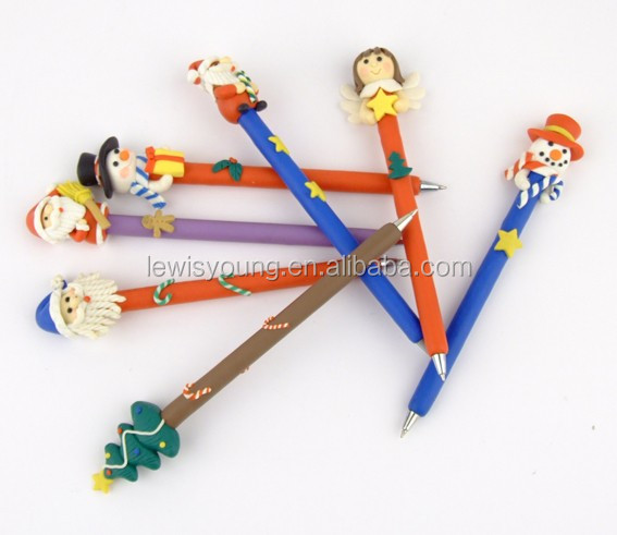 cute cartoon figure shape ball pen christmas birthday gift for kids made of Polymer clay