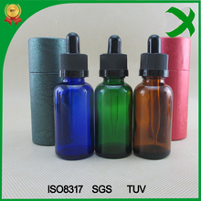 Factory child proof dropper bottle 30ml blue frosted black glass dropper bottles wholesale 10ml amber e liquid glass bottles
