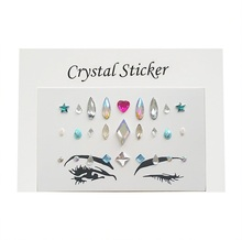 Custom hotfix rhinestone eye sticker/full face temporary tattoo/face jewels amazing crystal stone