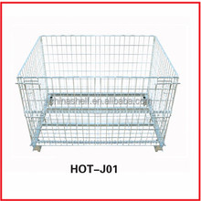 medium duty folding hand storage mental wire mesh container