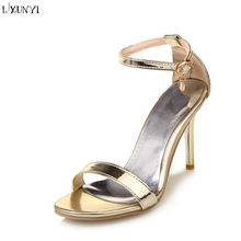 LXUNYI gold silver High Heels lady sandals Womens Dress thin high heel Party superstar shoes Pumps ladies sandals