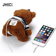 Lovely cartoon animal portable power battery charger teddy bear plush toy power bank for iphone