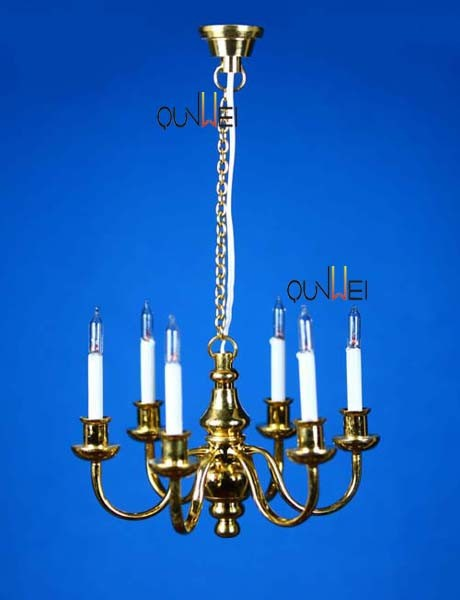 1:12 Scale Dollhouse Lighting 6 Arm Colonial Chandelier QW24066