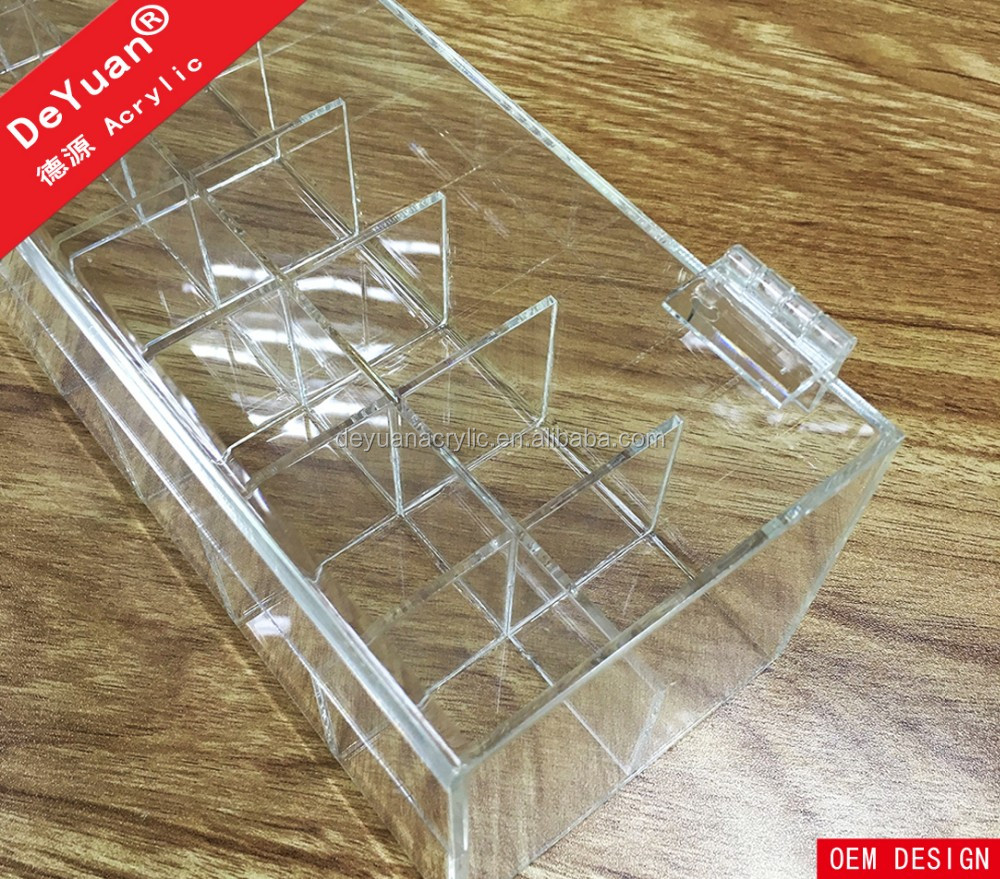 Crystal Knob Acrylic Lipstick Holder Box with Hinged Lid