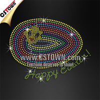 Wholesale heat transfer designs Cute easter egg smile iron on neon rhinestud wholesale rhinestone motifs