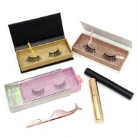Homay New Arrival Private Label Full Strip Lashes Waterproof Magnetic Eyeliner Mink Silk Eyelashes With Tweezer