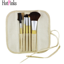 Customized 5 Pieces Bamboo Makeup Brush Sets Promotional Make Up Brushes Kit with Portable Cosmetic Case