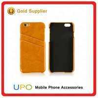 [UPO] Hot selling PU Leather Hard Plastic Back Cover Case for iPhone 6 With Credit Card Slot
