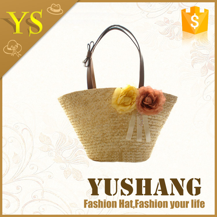 2016 custom natural color straw beach bag straw shopping bag straw tote bag