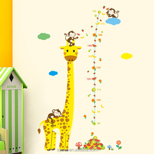 Giraffe Monkey kid 3d kids height measurement growth chart wall sticker decal for baby nursery kindergarten school home decor