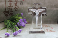 high quality clear religious crystal gift crystal cross with Jesus figurine wedding crystal cross gift