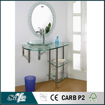 Cheap Bathroom Vanity With Glass Shelf And Stainless Steel Towel Rack Buy Cheap Bathroom