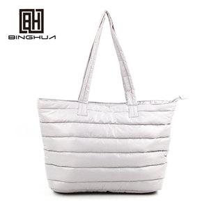 90734fe28fddf Winter Fashion Space Cotton Gray Tote Bags Women Down Feather Handbag