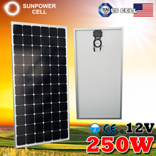 Mono Black Monocrystalline Silicon Portable 250w 12v High Efficiency Solar Panel