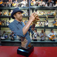 american resin cowboy jazz trumpeter figure/trophy for bar/pup decoration